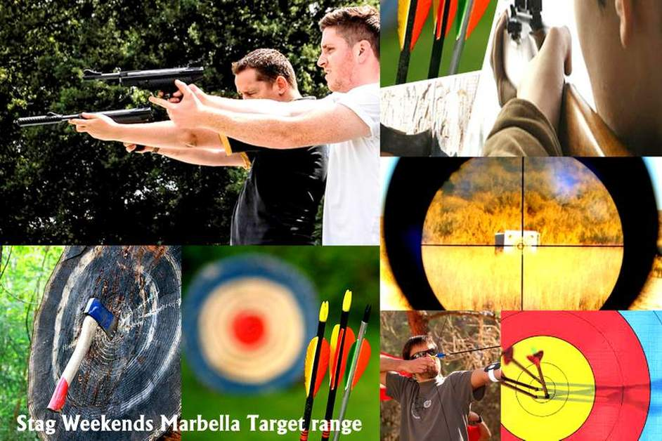 Stag Weekends Marbella, Archery, Shooting Big Guns live ammunition, Axe Throwing, Blow Pipes Costa del Sol, Spain